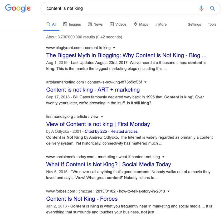 plenty of Google search results for content is not king