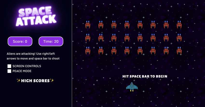 Overview of the Space Invaders game interface, showing enemy spaceships