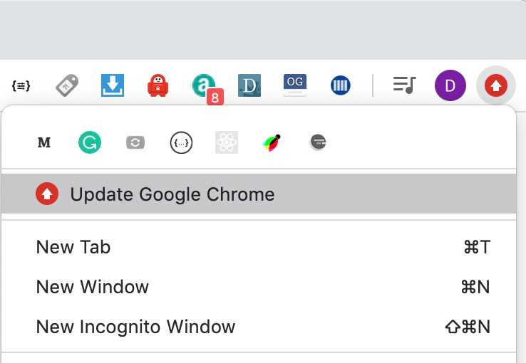 Chrome update button