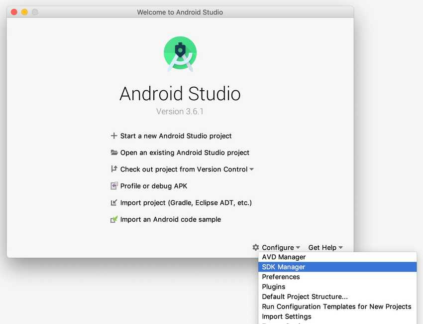 Android Studio configure > SDK Manager