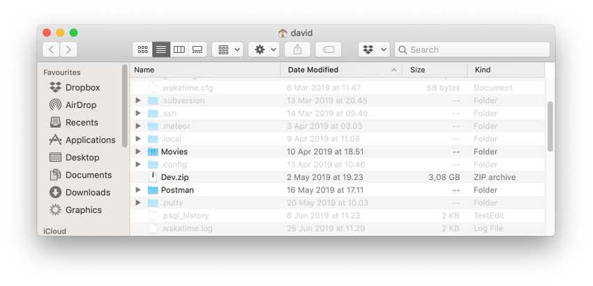 Finder window showing previously hidden folders and files