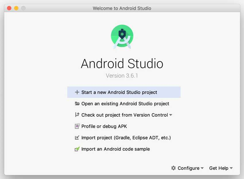 Android Studio is set up welcome screen