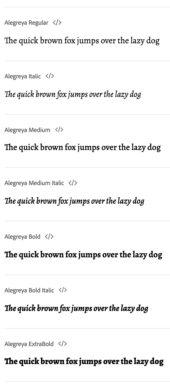 A list of different font styles and font weights from the font family called Alegreya
