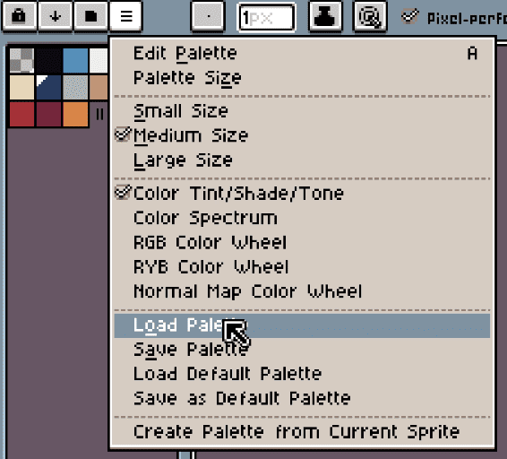 Load color palette in Aseprite
