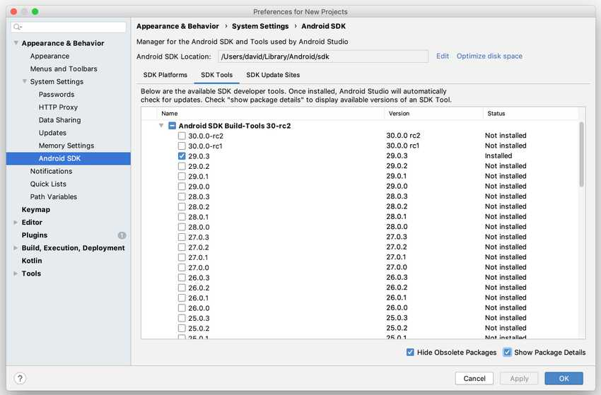 Android Studio SDK tab show details
