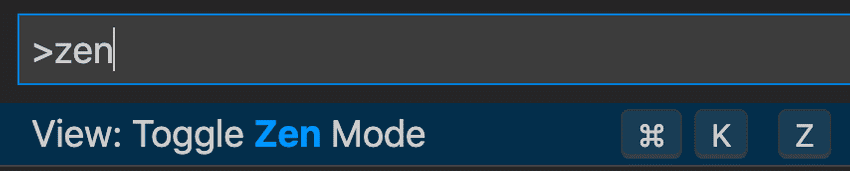 vscode toggle zen mode