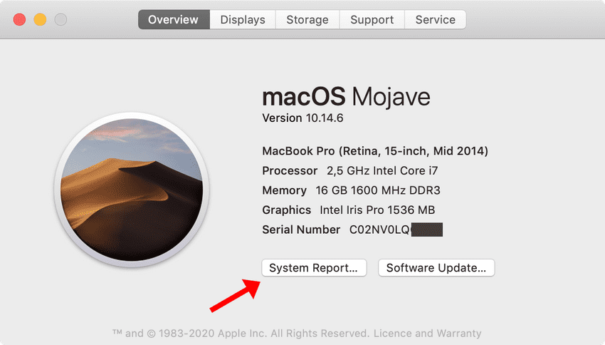 Mac System Report button