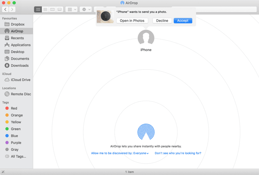 Mac AirDrop incoming file prompt