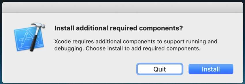 Xcode install additional components pop up